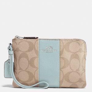 Coach NWT Signature Print and Seafoam Wristlet